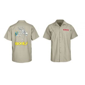 Powell-Peralta Skateboard Skeleton Work Shirt Khaki