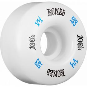 BONES 100's 53mm White - Wide Wheels 4pk